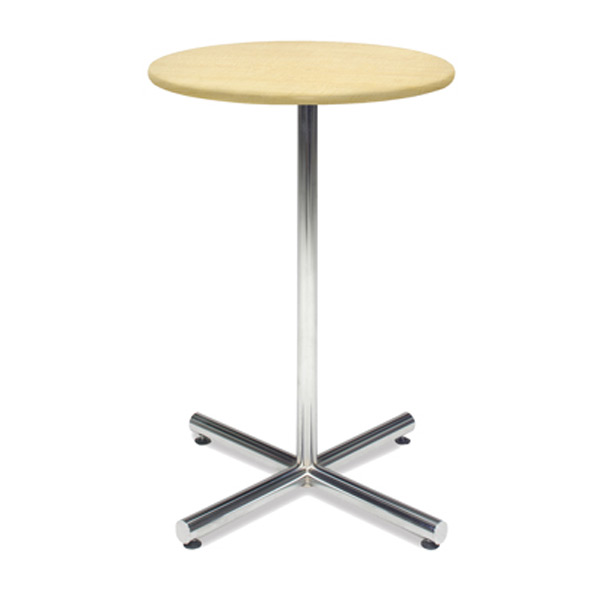 30″ Round Bar Table With Chrome Base - Maple