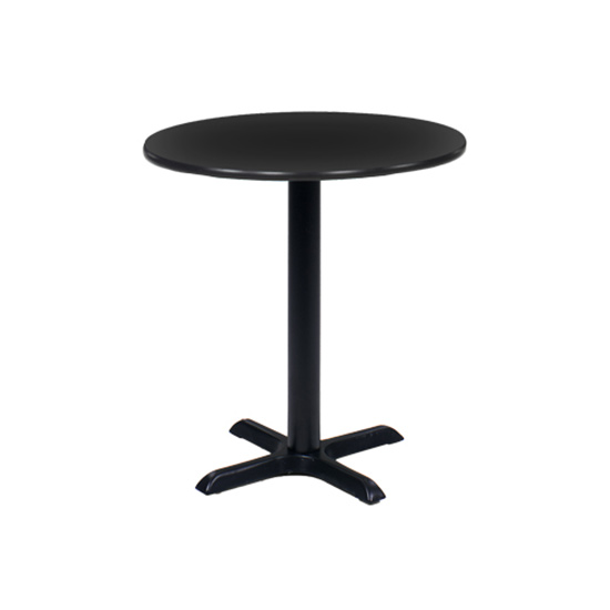 30″ Round Cafe Table - Black with Black Base