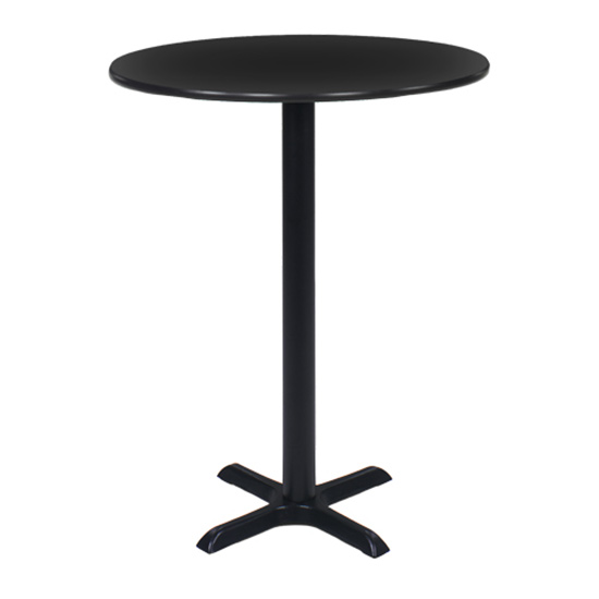 36″ Round Bar Table with Black Base - Black
