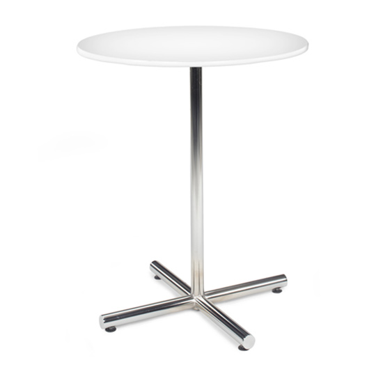 36″ Round Bar Table with Chrome Base - White