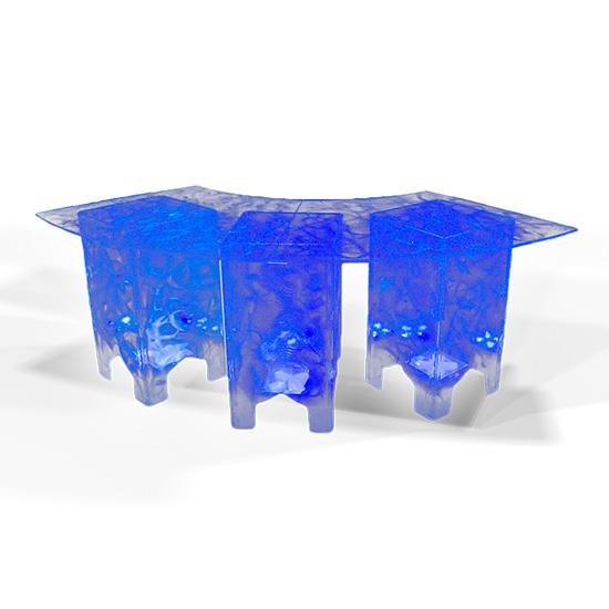 Clear Acrylic Swirled Serpentine Buffet Table, Blue
