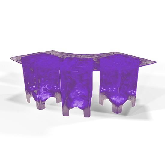 Clear Acrylic Swirled Serpentine Buffet Table, Purple
