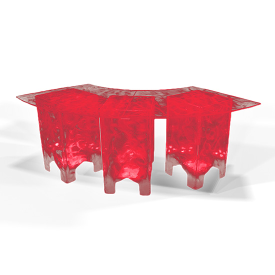 Clear Acrylic Swirled Serpentine Buffet Table, Red