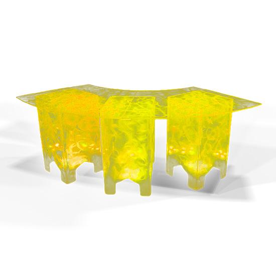 Clear Acrylic Swirled Serpentine Buffet Table, Yellow