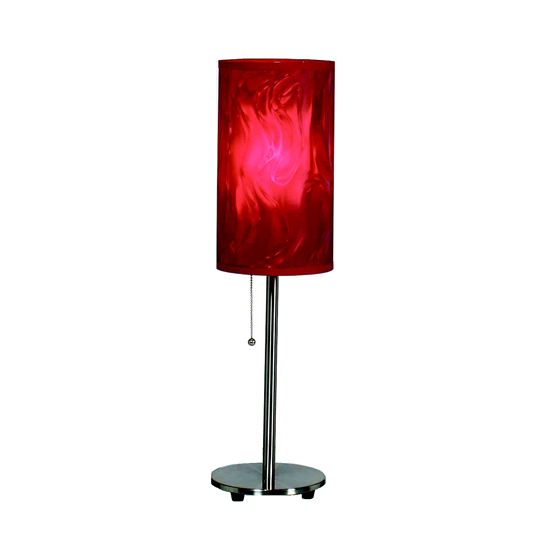 Brushed Steel Table Lamp - Red Moire Shade