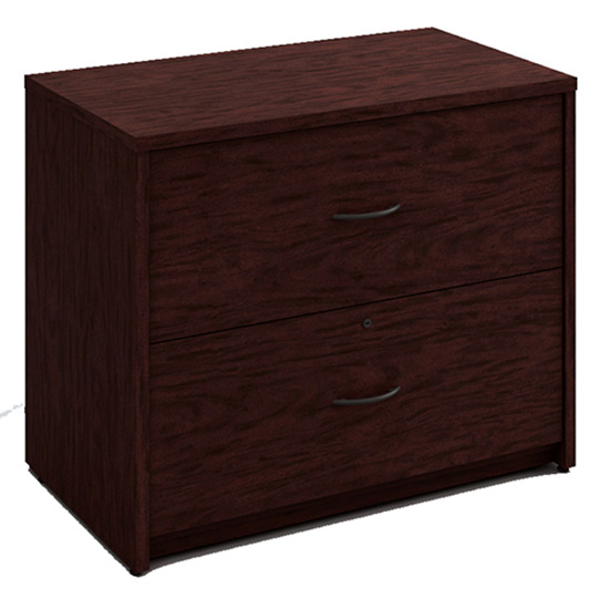 2 Drawer Wood Lateral File - Figured Mahogany