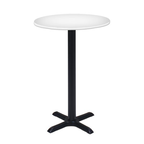 30″ Round Bar Table With Black Base - White