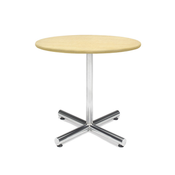 36″ Round Cafe Table - Maple with Chrome Base