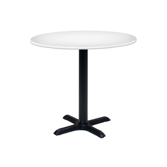 36″ Round Cafe Table - White with Black Base