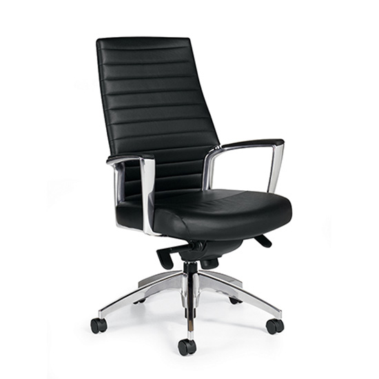 Accord High Back Leather Chair - Black