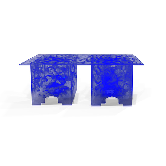 6' Clear Acrylic Swirled Straight Buffet Table, Blue