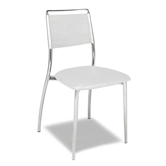 Silk Back Chair, Armless - White